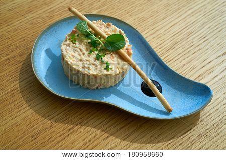 Spanish potato salad with salad and balsamic vinegar tapas starter