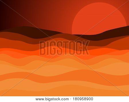 Desert Landscape, Sunset With A Red Sun In The Desert. Vector Illustration