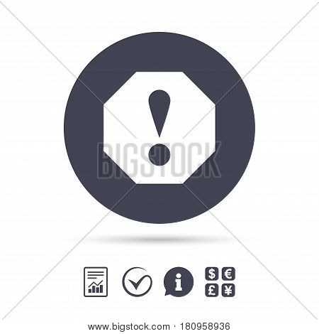 Attention sign icon. Exclamation mark. Hazard warning symbol. Report document, information and check tick icons. Currency exchange. Vector