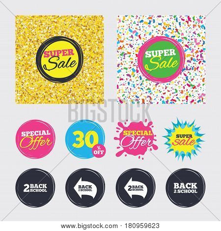 Gold glitter and confetti backgrounds. Covers, posters and flyers design. Back to school icons. Studies after the holidays signs symbols. Sale banners. Special offer splash. Vector