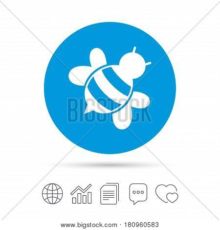 Bee sign icon. Honeybee or apis with wings symbol. Flying insect diagonal. Copy files, chat speech bubble and chart web icons. Vector