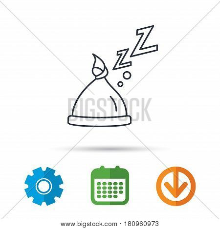 Baby hat with nodule icon. Newborn cap sign. Toddler sleeping clothes symbol. Calendar, cogwheel and download arrow signs. Colored flat web icons. Vector