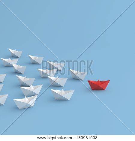 Leadership concept red leader boat standing out from the crowd of white boats on blue background. 3D rendering.