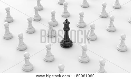 Leadership concept black king of chess standing out from the crowd of white pawns on white background. 3D rendering.