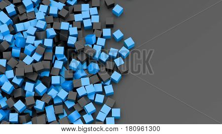 Infinite black and blue cubes background. 3D Rendering.