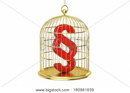 Birdcage with section symbol locked inside 3D rendering