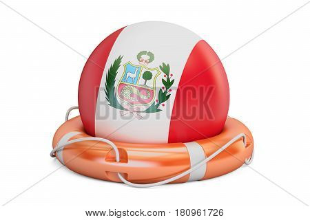 Lifebelt with Peru flag safe help and protect concept. 3D rendering