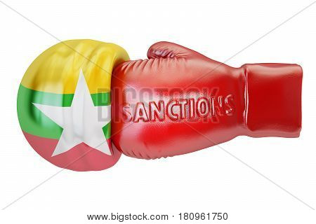 Sanctions against Burma Myanmar concept 3D rendering isolated on white background