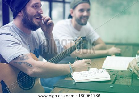Group of friends playing guitar happiness relax time