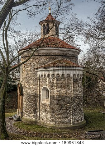 Oldest Rotunda of St. Martin from 11th century, Vysehrad, Prague, Czech Republic
