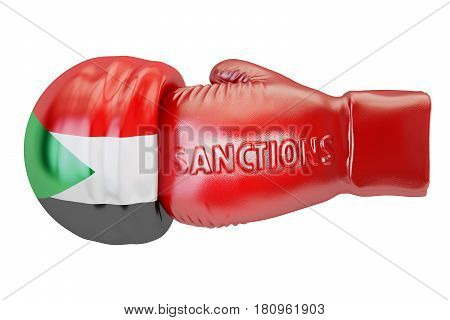 Sanctions against Sudan concept 3D rendering isolated on white background