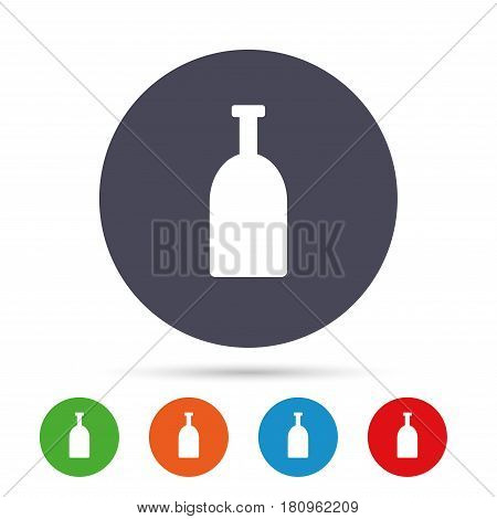Alcohol sign icon. Drink symbol. Bottle. Round colourful buttons with flat icons. Vector