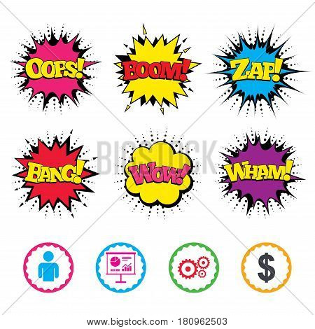 Comic Wow, Oops, Boom and Wham sound effects. Business icons. Human silhouette and presentation board with charts signs. Dollar currency and gear symbols. Zap speech bubbles in pop art. Vector