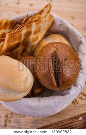 A grain basket with a wheaten roll and a rye roll