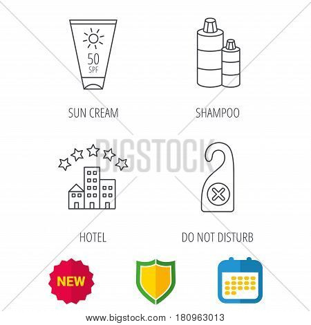 Hotel, shampoo and sun cream icons. Do not disturb linear sign. Shield protection, calendar and new tag web icons. Vector