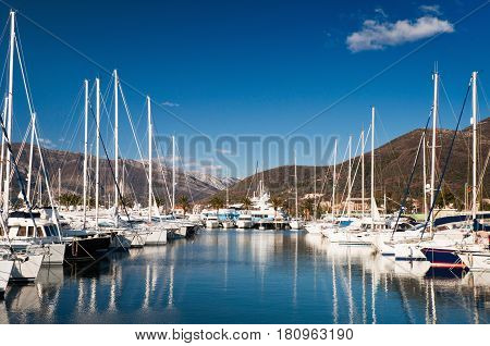 Sailboat marina color image outdoors image, horizontal