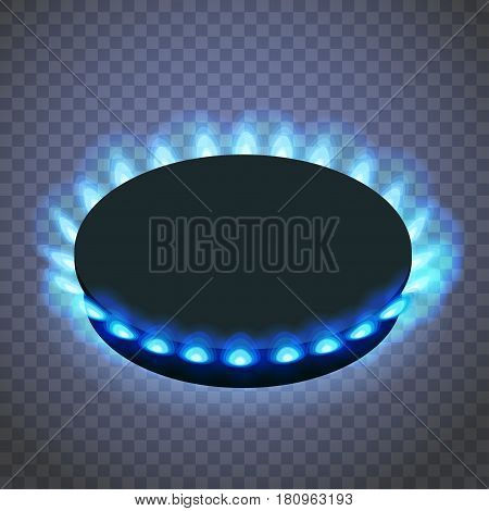 Isometric gas burner or hob on a transparent background. Vector Blue flame