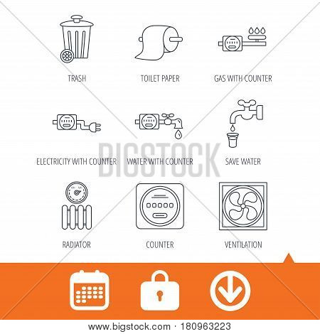 Ventilation, radiator and water counter icons. Toiler paper, gas and electricity counters linear signs. Trash icon. Download arrow, locker and calendar web icons. Vector