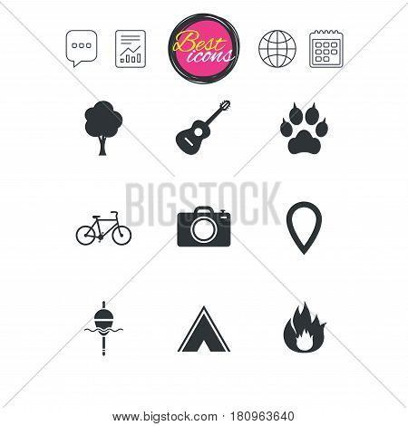 Chat speech bubble, report and calendar signs. Tourism, camping icons. Fishing, fire and bike signs. Guitar music, photo camera and paw with clutches. Classic simple flat web icons. Vector
