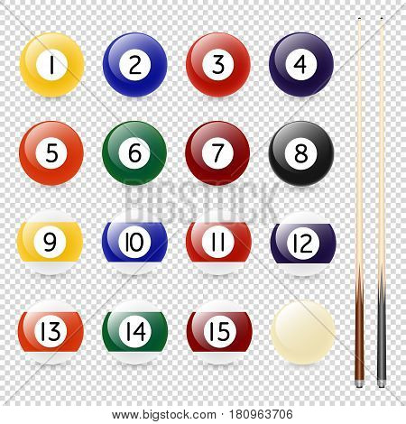 Vector realistic pool - billiard balls and cue closeup isolated on transparent background. Design template, EPS10 illustration.