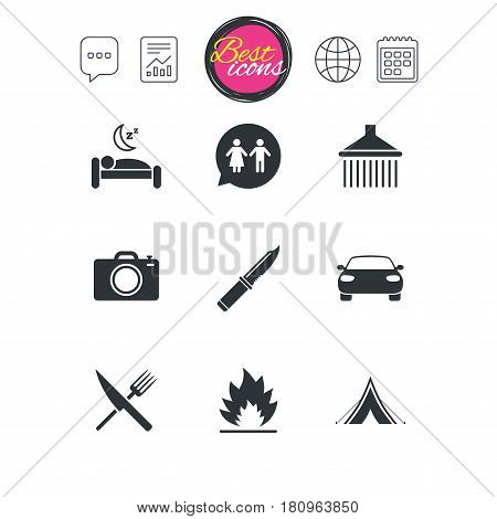Chat speech bubble, report and calendar signs. Hiking trip icons. Camping, shower and wc toilet signs. Tourist tent, fork and knife symbols. Classic simple flat web icons. Vector