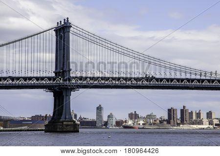 NEW YORK - APRIL 8: Manhattan bridge - view from Manhattan side near Brooklyn Bridge on April 8, 2016 in New York, NY.