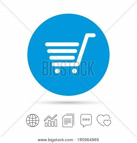 Shopping Cart sign icon. Online buying button. Copy files, chat speech bubble and chart web icons. Vector