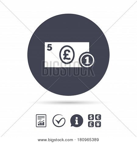 Cash sign icon. Pound Money symbol. GBP Coin and paper money. Report document, information and check tick icons. Currency exchange. Vector