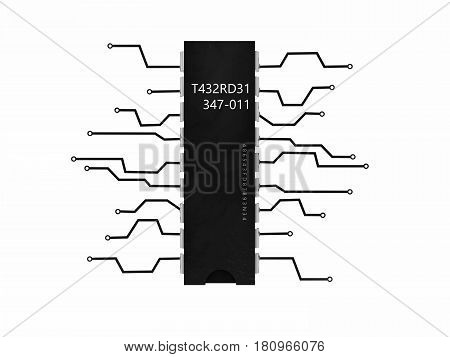 Electronic components flat transistor, 3d illustration. isolated white background