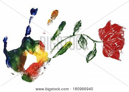 Colorful gouache print hand with red rose on white background. Symbolic pattern.