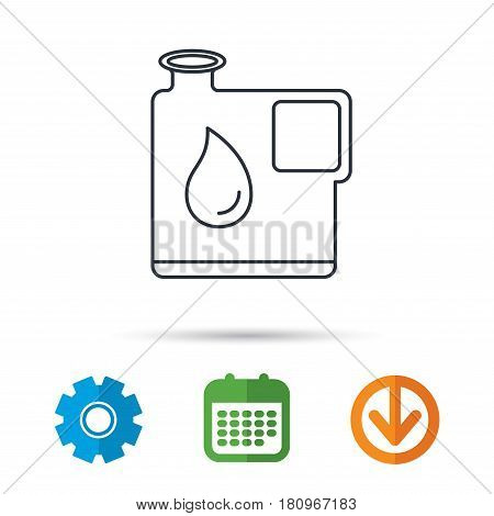 Jerrycan icon. Petrol fuel can with drop sign. Calendar, cogwheel and download arrow signs. Colored flat web icons. Vector