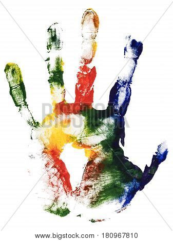 Colorful left hand print. Gouache painting isolated