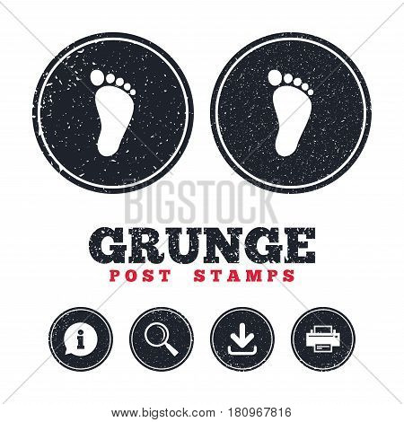 Grunge post stamps. Child footprint sign icon. Toddler barefoot symbol. Information, download and printer signs. Aged texture web buttons. Vector