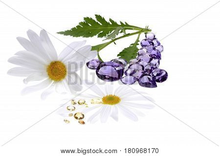 Crystal Therapy with precious stones and white background. Amethyst and yellow topaz.