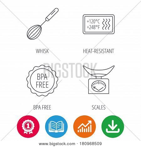 Kitchen scales, whisk and heat-resistant icons. BPA free linear sign. Award medal, growth chart and opened book web icons. Download arrow. Vector
