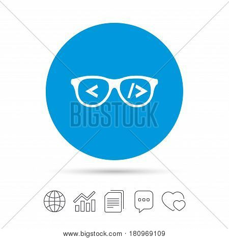 Coder sign icon. Programmer symbol. Glasses icon. Copy files, chat speech bubble and chart web icons. Vector