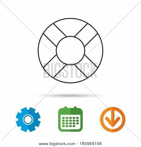 Lifebuoy icon. Lifebelt sos sign. Lifesaver help equipment symbol. Calendar, cogwheel and download arrow signs. Colored flat web icons. Vector