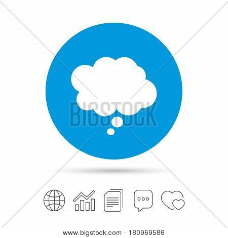 Comic speech bubble sign icon. Chat think symbol. Copy files, chat speech bubble and chart web icons. Vector