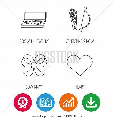 Love heart, jewelry and bow-knot icons. Valentine amour arrows linear sign. Award medal, growth chart and opened book web icons. Download arrow. Vector