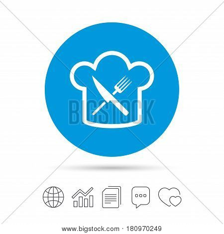 Chef hat sign icon. Cooking symbol. Cooks hat with fork and knife. Copy files, chat speech bubble and chart web icons. Vector