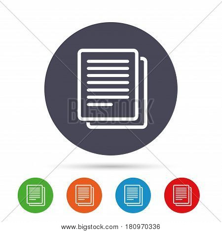 Copy file sign icon. Duplicate document symbol. Round colourful buttons with flat icons. Vector