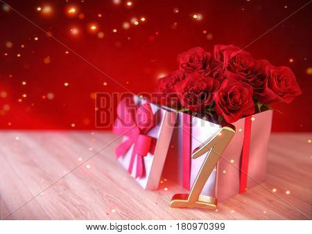 birthday concept with red roses in gift on wooden desk. 3D render - first birthday. 1st