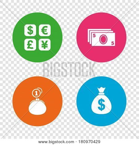 Currency exchange icon. Cash money bag and wallet with coins signs. Dollar, euro, pound, yen symbols. Round buttons on transparent background. Vector