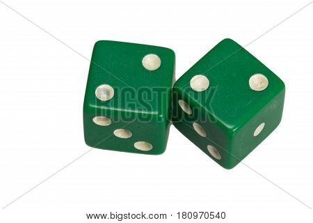 Two dice showing two deuces, on white background.