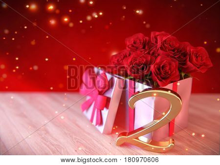 birthday concept with red roses in gift on wooden desk. 3D render - second birthday. 2nd