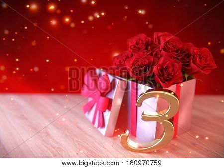 birthday concept with red roses on wooden desk. 3D render - third birthday. 3rd