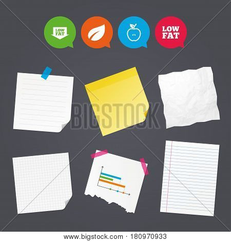 Business paper banners with notes. Low fat arrow icons. Diets and vegetarian food signs. Apple with leaf symbol. Sticky colorful tape. Speech bubbles with icons. Vector