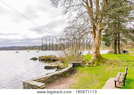 view of lake windermere from ambleside The Lake District, Cumbria,