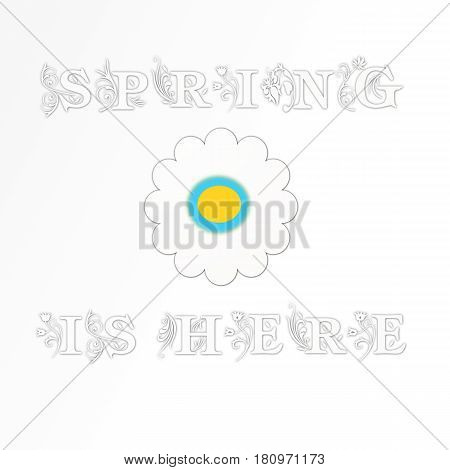 White Spring flowers in fields with copy space