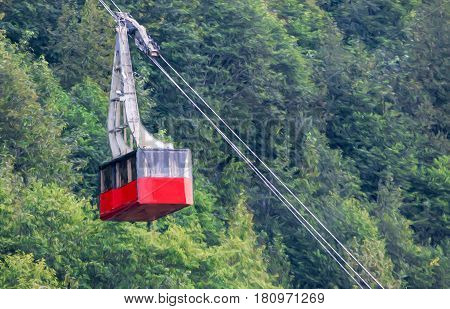 Illustrative image of Cable car coming down from top of mountain in Juneau.